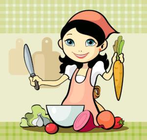 Girl prepares a meal